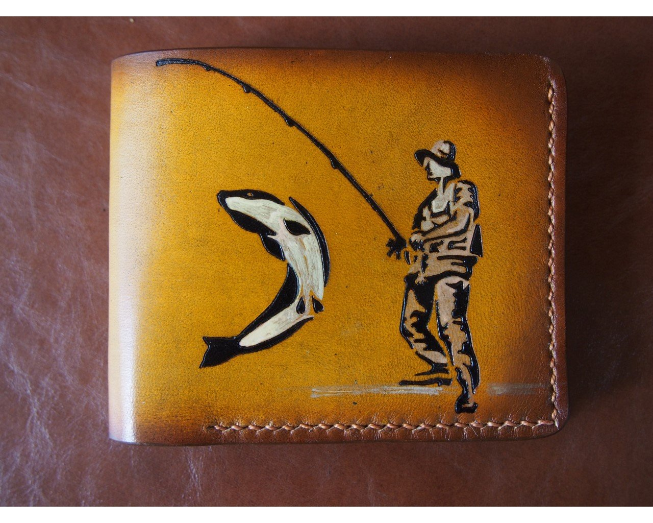 Leather wallet Fisherman