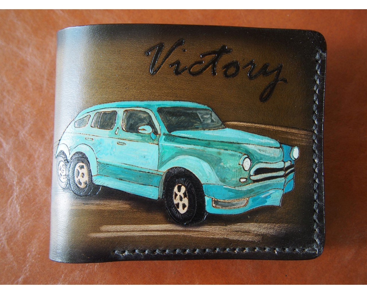 Leather Wallet Retro car turquoise
