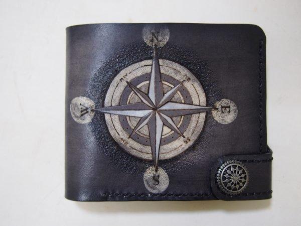 кожаный кошелек компас фото 1