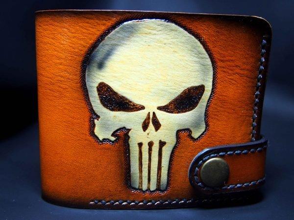кожаный байкерский кошелек с черепом фото