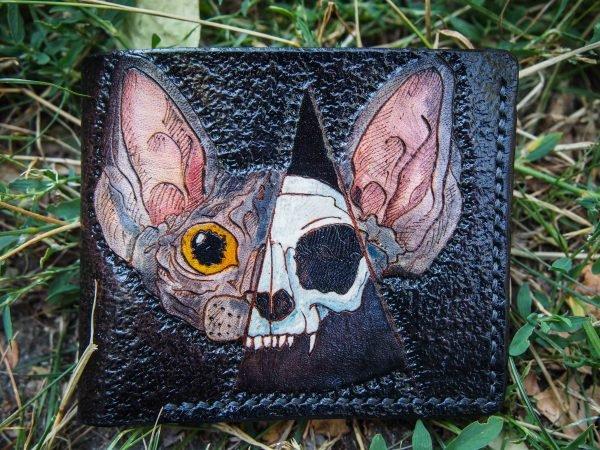 кожаный кошелек череп кота фото