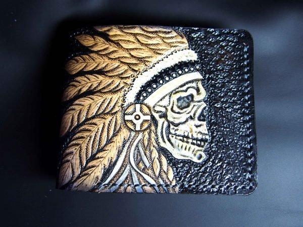 кожаный кошелек череп вождя фото