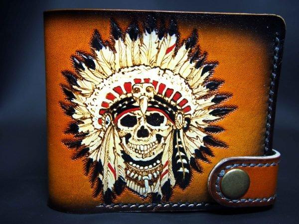 кожаный кошелек череп индеец фото