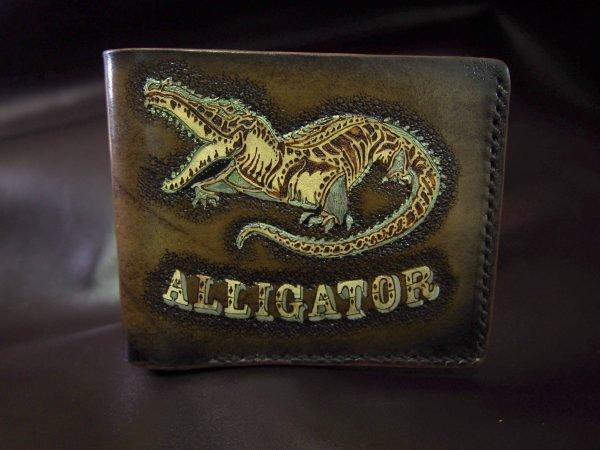 кожаный кошелек аллигатор фото
