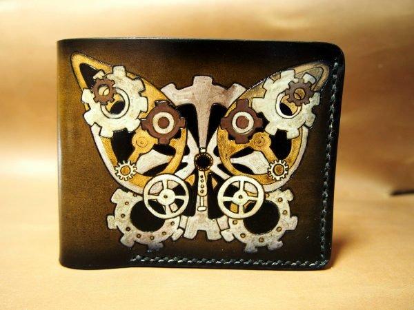 кожаный кошелек с бабочкой фото