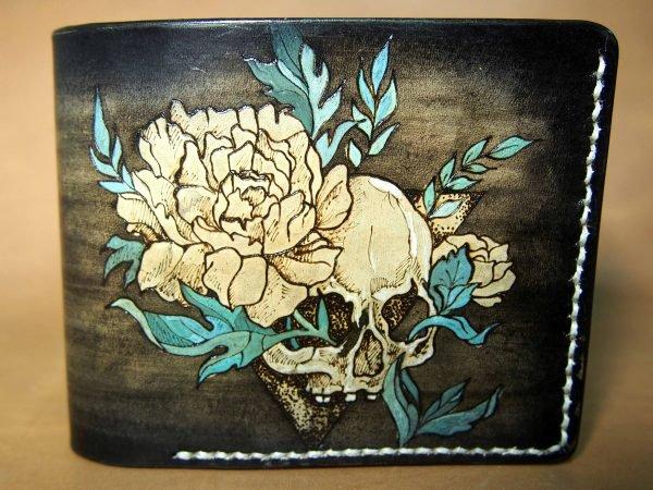 кошелек череп с пионом фото