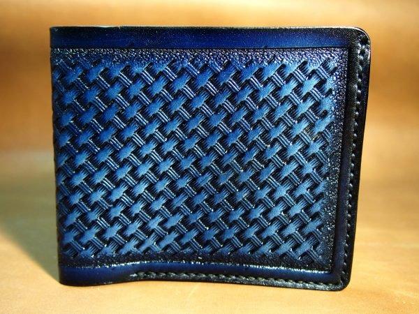 кожаный кошелек синий фото 3