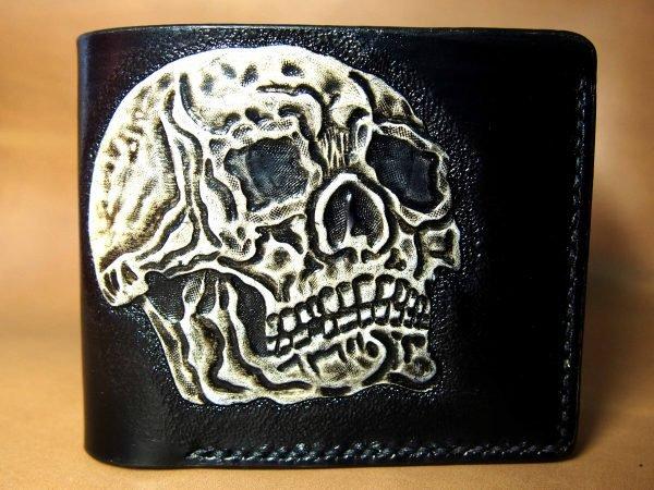кожаный кошелек череп фото