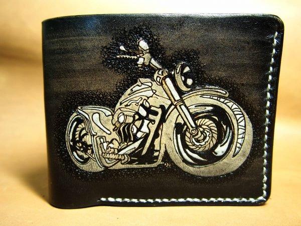 кожаный кошелек с байком фото