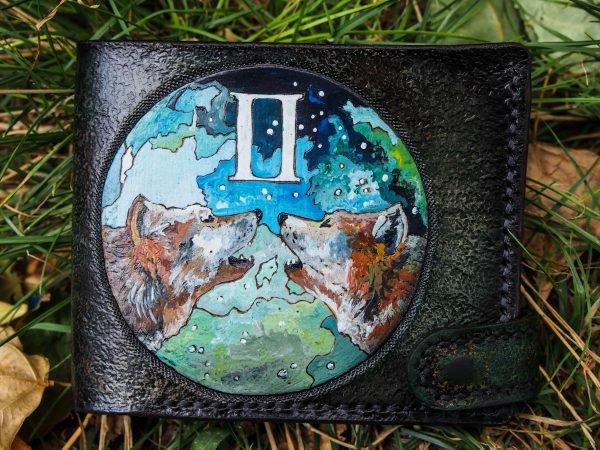 кожаный кошелек волки фото