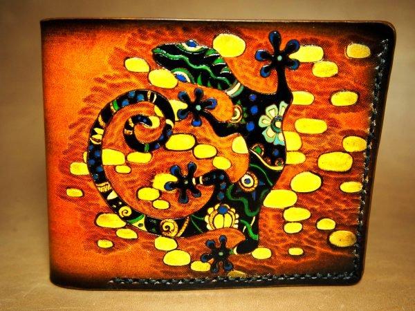 кожаный кошелек ящерица фото