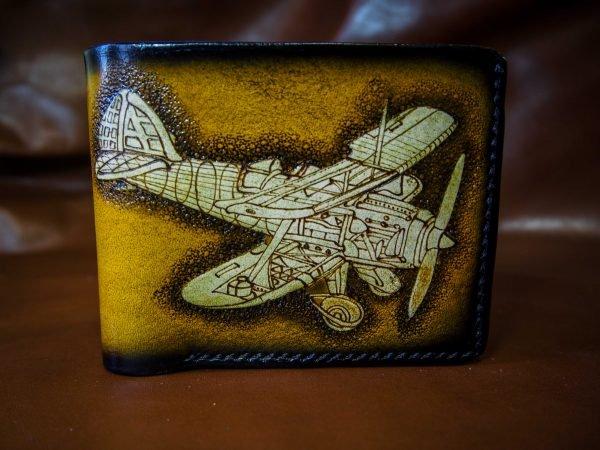 кожаный кошелек самолет желтый фото