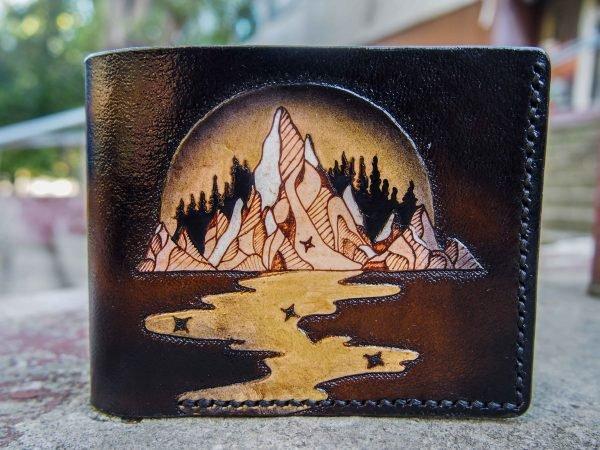 кожаный кошелек горы фото