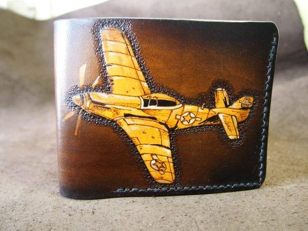 кожаный кошелек с самолетом фото