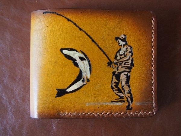 кожаный кошелек рыбак фото