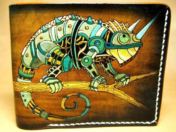 кожаный кошелек хамелеон фото