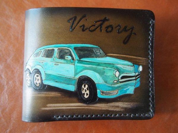 кожаный кошелек с авто победа фото
