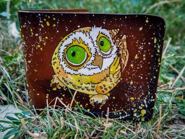 кожаный кошелек с совой фото