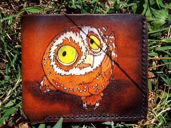 кожаный кошелек смешная сова фото