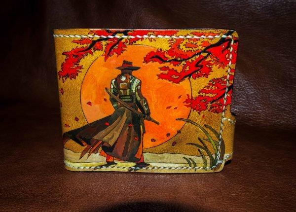 кожаный кошелек самурай фото