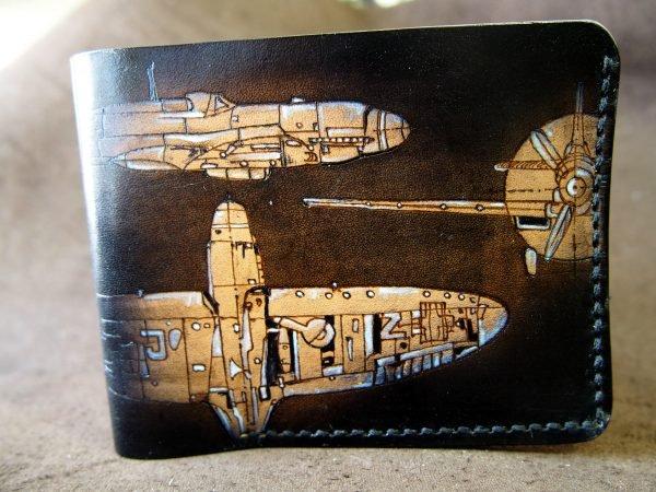 кожаный кошелек с самолетами фото