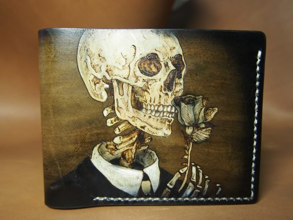 кожаный кошелек скелет с розой фото 5