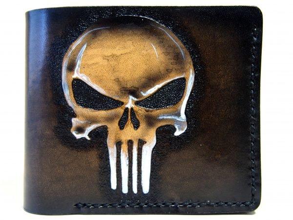 кожаный кошелек панишер фото 4