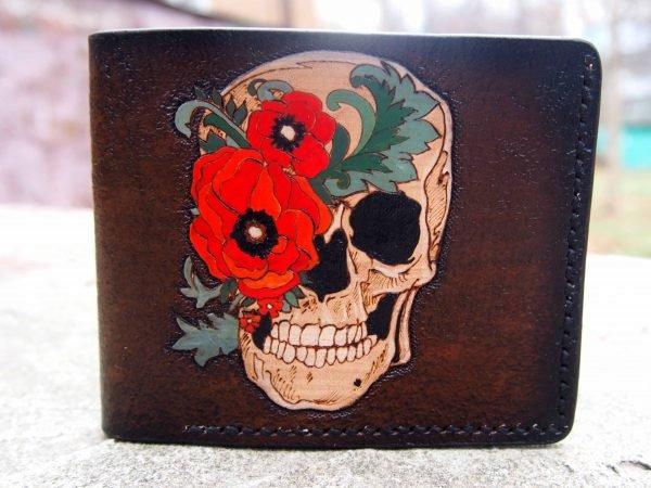 кожаный кошелек череп и маки фото