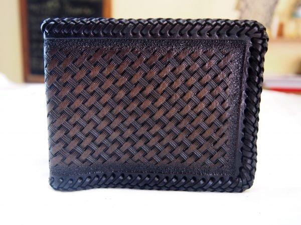 кожаный кошелек коричневый с тесьмой фото