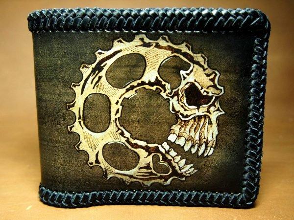 кожаный кошелек с шестеренкой фото 2