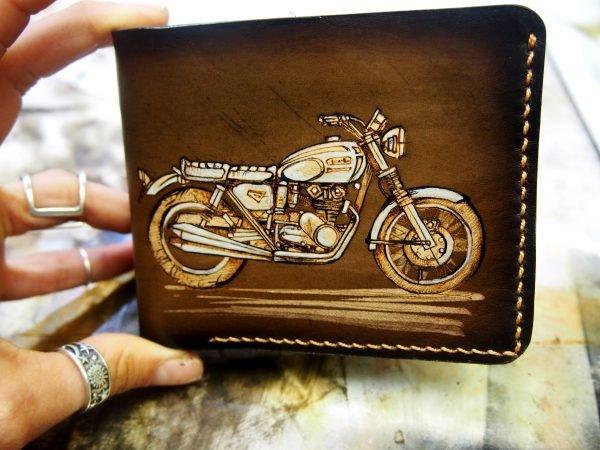 кожаный кошелек мотоцикл фото