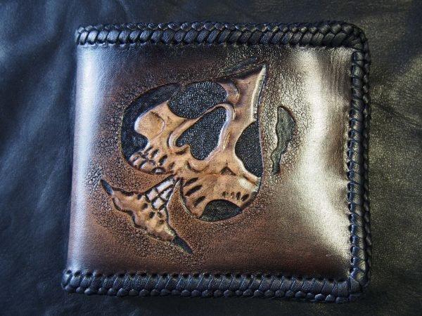 кожаный кошелек череп пик фото 2