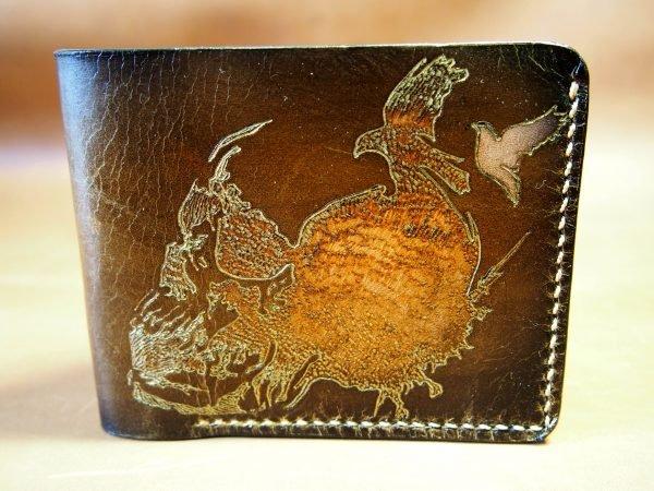 кожаный кошелек череп и птицы фото 2