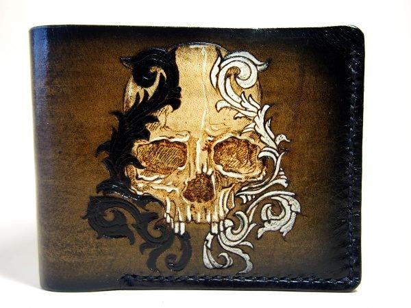 байкерский кожаный кошелек с черепом фото 6