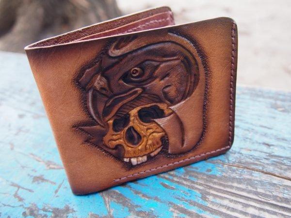 кожаный кошелек череп с орлом фото 2
