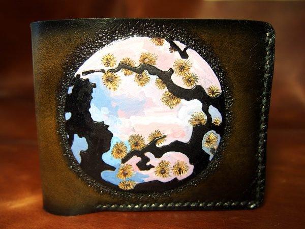 кожаный кошелек сакура фото