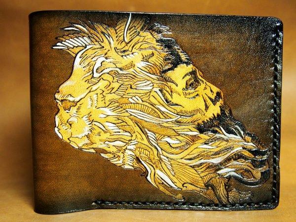 кожаный кошелек лев фото 2