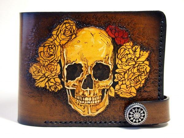 кожаный кошелек череп в венке фото 2