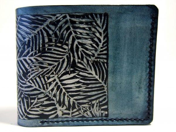 кожаный синий кошелек тропики фото 1
