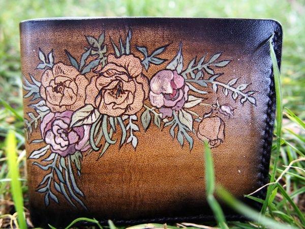 кожаный кошелек с цветами фото 1
