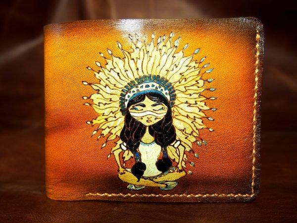 кожаный кошелек индианка фото 4