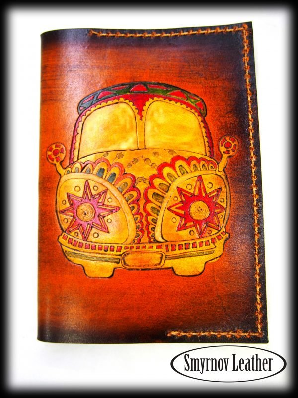 Кожаная обложка на паспорт Хиппи мобиль фото