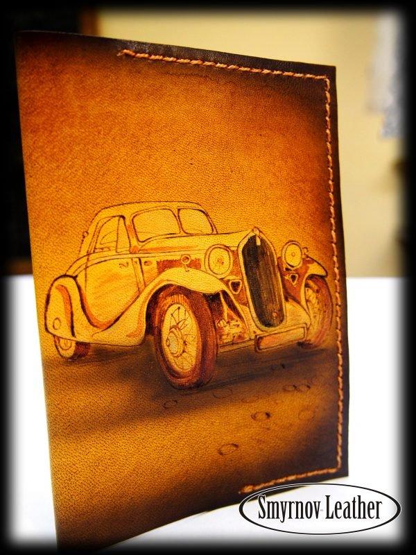 Кожаная обложка на паспорт Ретро авто фото