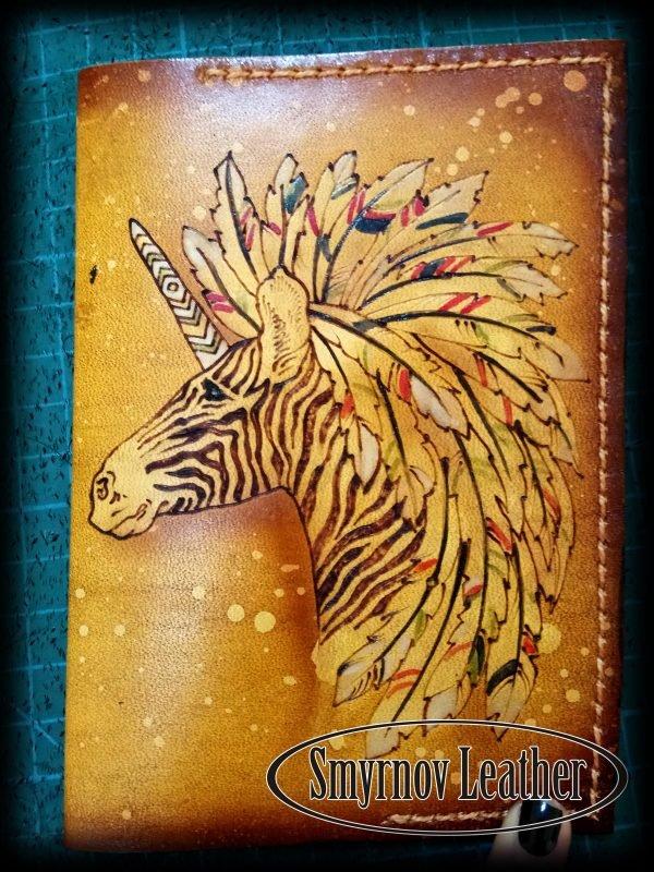 Кожаная обложка на паспорт Зебра фото