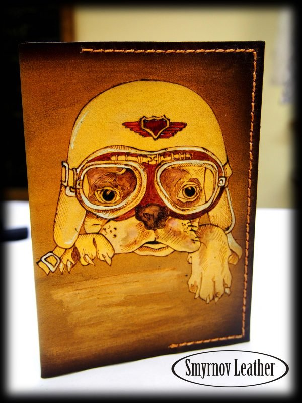 Кожаная обложка на паспорт Собака Пилот (Cobl32b) фото