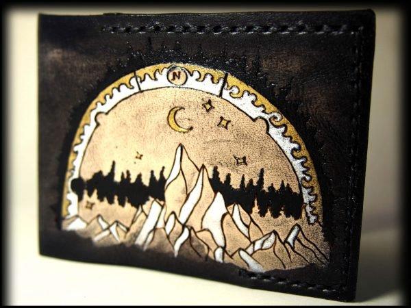 кожаная обложка на ID паспорт горы фото 2
