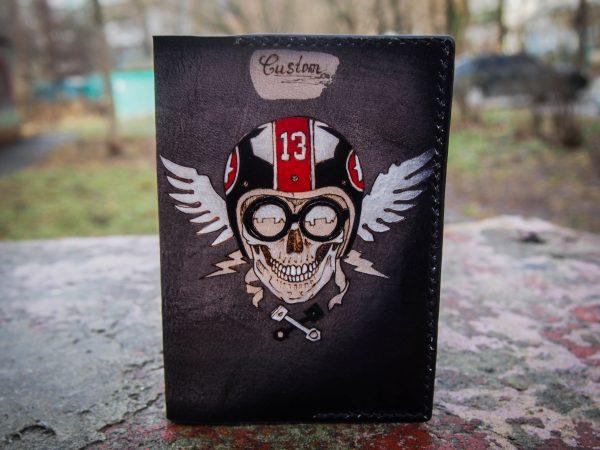 кожаная обложка для паспорта череп luccy