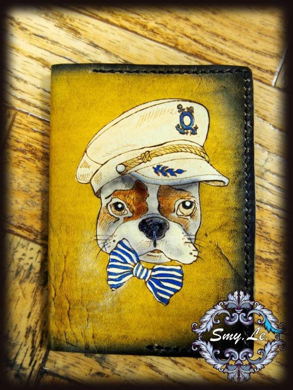 Кожаная обложка на паспорт Пес моряк фото