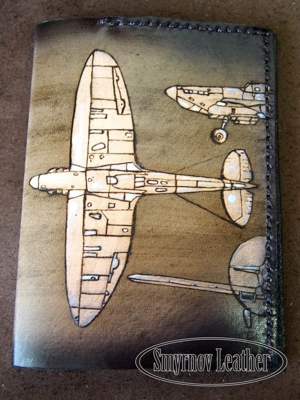 Кожаная обложка на паспорт Самолеты фото