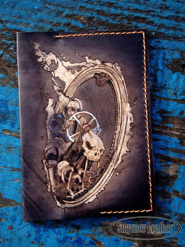 Кожаная обложка на паспорт Череп